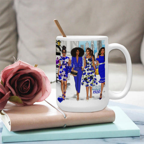 ZETA Phi BETA Sorority Gifts -Personalized ZPB  Coffee Cup Mug 15 Oz