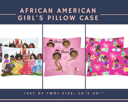 Black African American Girl Set Of 2 pillow covers