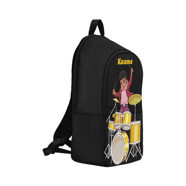 Toddler Drummer Boys backpack Black African American School Bookbag Children kids backpack boy Personalised with Any Name Initial (Med-Large