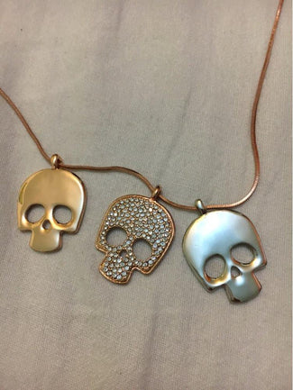 Three Skull Pendant Necklace