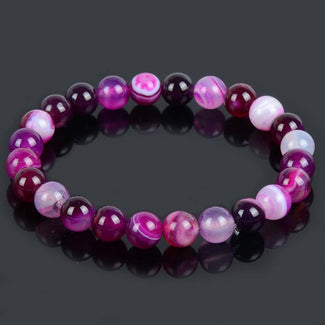 Purple Banded Agate Natural Stone Bracelet
