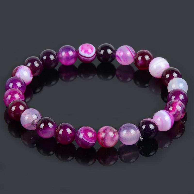 Purple Banded Agate Natural Stone Bracelet - Giftolution