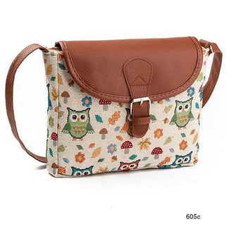 Owl Printed Canvas Handbag