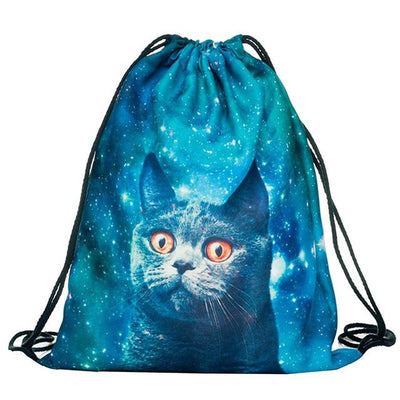 3D Cat Printed Drawstring Bag - Giftolution
