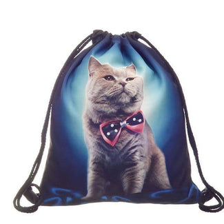 3D Cat Printed Drawstring Bag