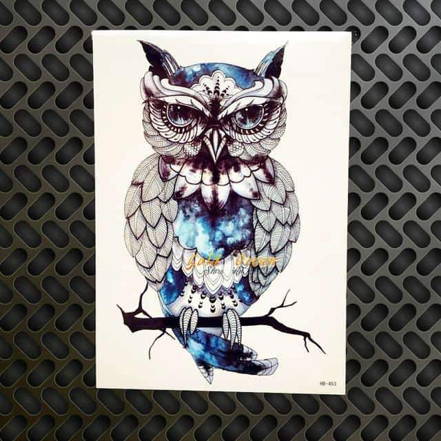 Temporary Owl Tattoo