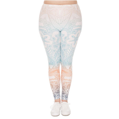 Round Aztec Pastel Ombré Leggings Plus - Giftolution