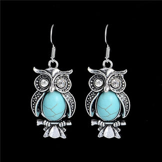 Turquoise Owl Earrings