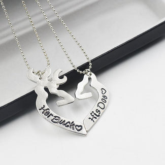 Kissing Deer Heart Necklace