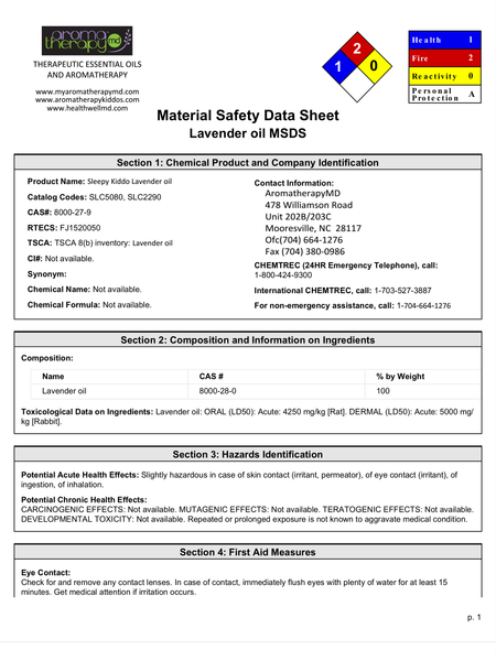 Essential Oil MSDS Sheet - Lavender