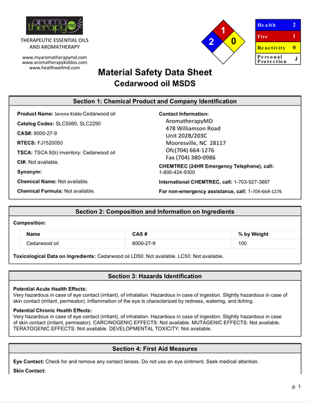 Essential Oil MSDS Sheet - Cedarwood