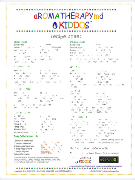 aROMATHERAPYmd KIDDOs Recipe and Safety Sheets