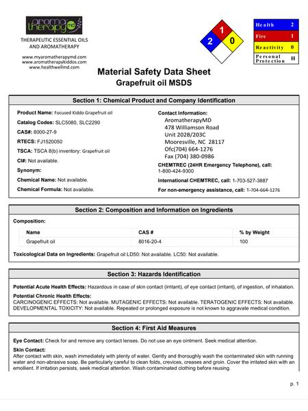 Essential Oil MSDS Sheet - Grapefruit
