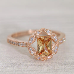 Cushion-Cut Vintage-Style Flower Shaped CZ Rose Gold Plated Ring #1001