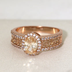 Oval Cut Rose Gold Plated Engagement Ring #1002