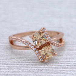 Two-stone Champagne CZ Engagement Ring #1003
