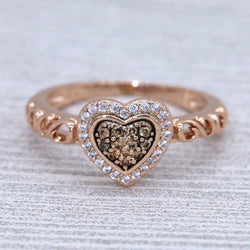 Heart-shaped Cluster Frame Promise Ring #1004