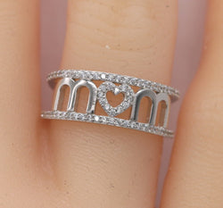 Mom Ring/Mom Heart Ring in 925 Sterling Silver #110