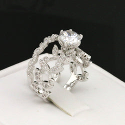 Elegance, 2pc Floral CZ Ring Set #354