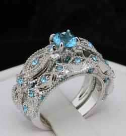 Beautiful 2pc Blue CZ Ring set #377