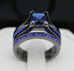 2pc Black Gold Plated Royal Blue CZ Ring Set #427