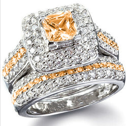 2pc Champaign CZ Bridal Ring Set #438