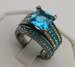 2pc Princess Cut Blue CZ Wedding Ring set #706
