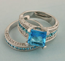 2pc Princess Cut Blue CZ Wedding Ring set #739