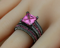 2pc Princess Cut Pink CZ Wedding Ring set #760