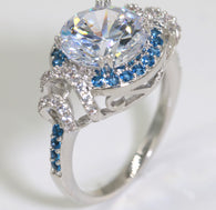 Blue & Clear CZ Engagement Ring #792