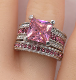 2pc Princess Cut Pink CZ Wedding Ring set #796
