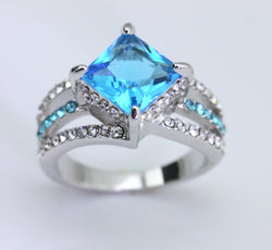 18K WGP Square Cut Blue CZ Ring
