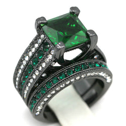 2pc Princess Cut Lab-created Emerald Wedding Ring Set #807
