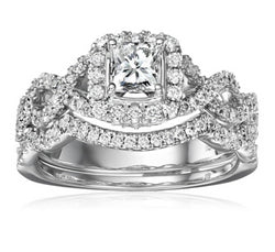2pc Square Cut Wedding Ring Set #904