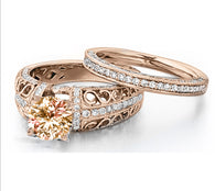 Infinity Rose Gold Round Cut CZ Wedding/Engagement Ring Set #971