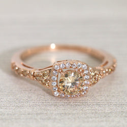 Halo Champagne CZ Engagement Ring #998