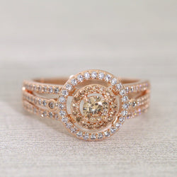 Dual Halo Champagne CZ Ring #999