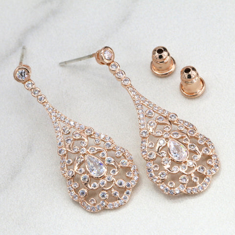 Vintage chandelier earrings rose gold chandelier earrings vintage chandelier earrings rose gold chandelier earrings bridesmaid earrings vintage drop earrings mozeypictures Images