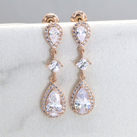 Bridal Earrings, Teardrop Earrings, Bridal CZ Drop Earrings, Rose Gold Sterling Silver Bridal Earrings, Wedding Jewelry E006