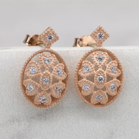 Art Deco Stud Earrings, Rose Gold Stud Earrings, Sterling Silver CZ Stud Earrings E009