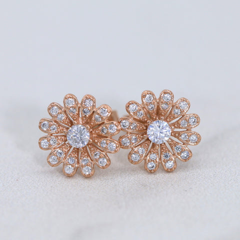 Stud Earrings Rose Gold, Flower Stud Earrings, Daisy Stud Earrings, Sterling Silver Stud Earrings, Simple Jewelry E011