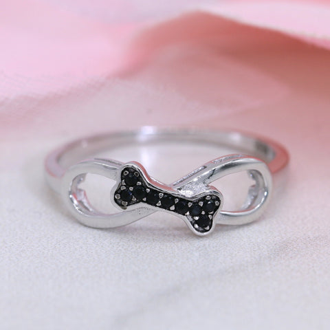 Sterling Silver Dog Ring Bone Ring Doggy Ring Dog Lover Gift 119