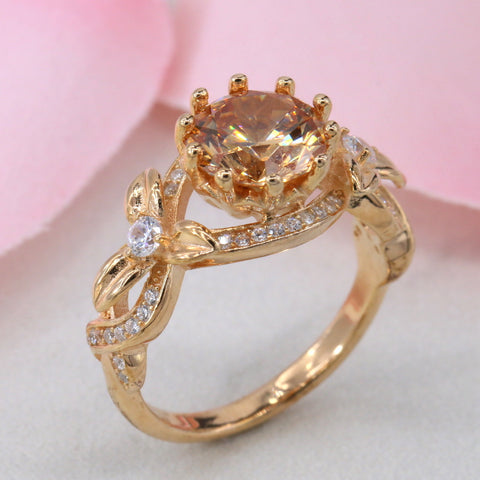 Sterling Silver Rose Gold Floral Engagement Ring Wedding Ring 925 CZ 114