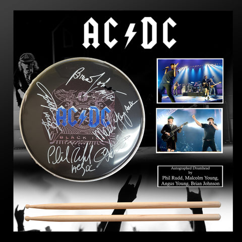 AC/DC - Autographed Drumhead Signed by band in Framed Case