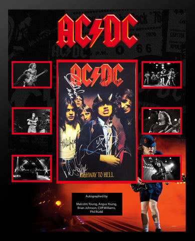 AC/DC Signed Highway To Hell Album Cover Collage - Angus, Malcolm, Brian, Cliff & Phil