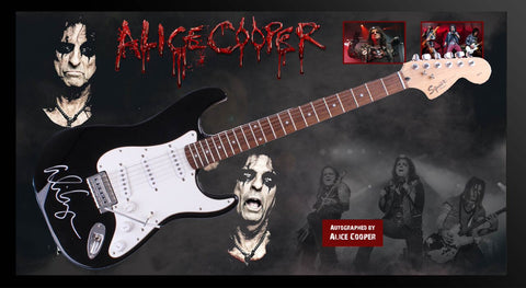 Alice Cooper Signed Guitar in Framed Case