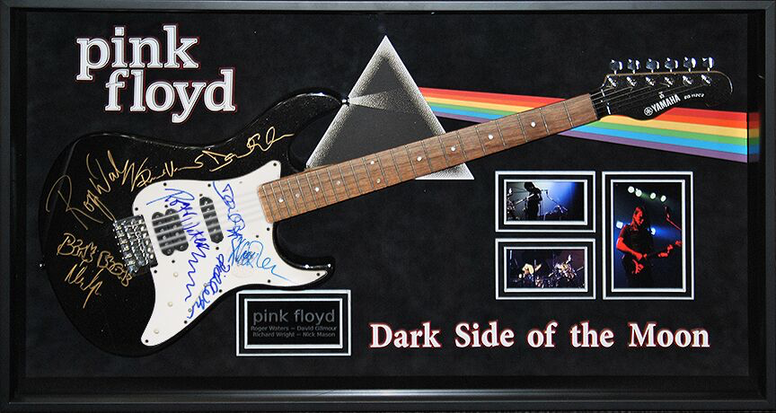 Pink Floyd Signed Guitar Dark Side of the Moon Custom Framed