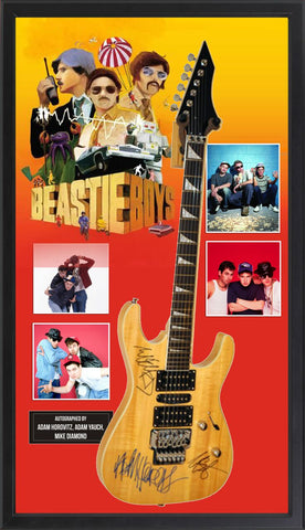 Beastie Boys Signed Guitar in Framed Case