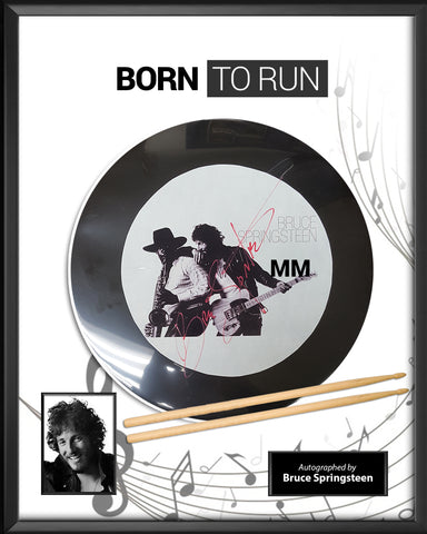 Bruce Springsteen - Born to Run - Autographed Drumhead in Framed Case
