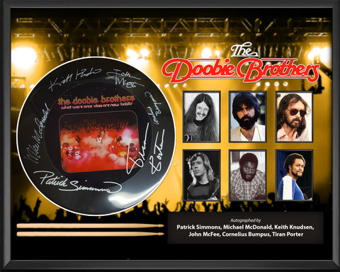 The Doobie Brothers - Autographed Drumhead Signed by band in Framed Case